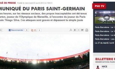 Communiqué officiel du PSG pour Barton
