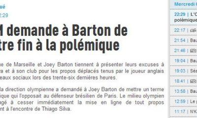 L'OM et Barton s'excusent auprès de Thiago Silva et du PSG