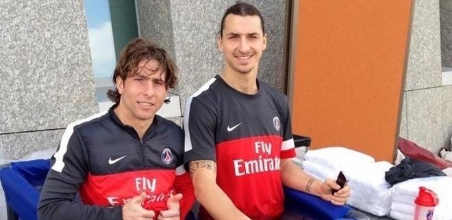 Zlatan à l'entraînement, Jallet et Alex à part