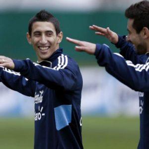 Lavezzi et Di Maria présentent le nouveau maillot de l'Argentine