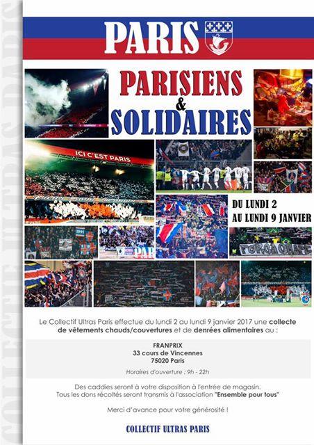 Le Collectif Ultras Paris organise une collecte de vêtements et denrées alimentaires