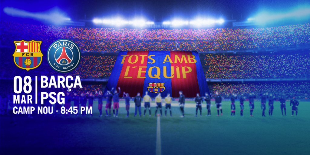 BarçaPSG - Barcelone a préparé son tifo pour le 8e de finale contre Paris.jpg