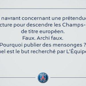 Le PSG s'attaque encore à L'Equipe Pourquoi publier des mensonges.jpg