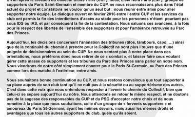 La Lista Nera de Paris annonce qu'elle quitte le Collectif Ultras Paris