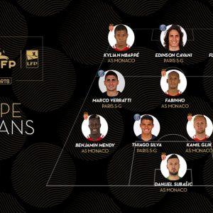 UNFP - Equipe-type de la saison 3 joueurs du PSG, 6 de l'AS Monaco et 1 de l'OM.jpg