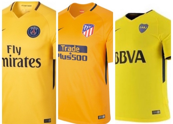 les maillots de l 39 atl tico de madrid et de boca juniors sont aussi tr s proches du jaune du psg. Black Bedroom Furniture Sets. Home Design Ideas