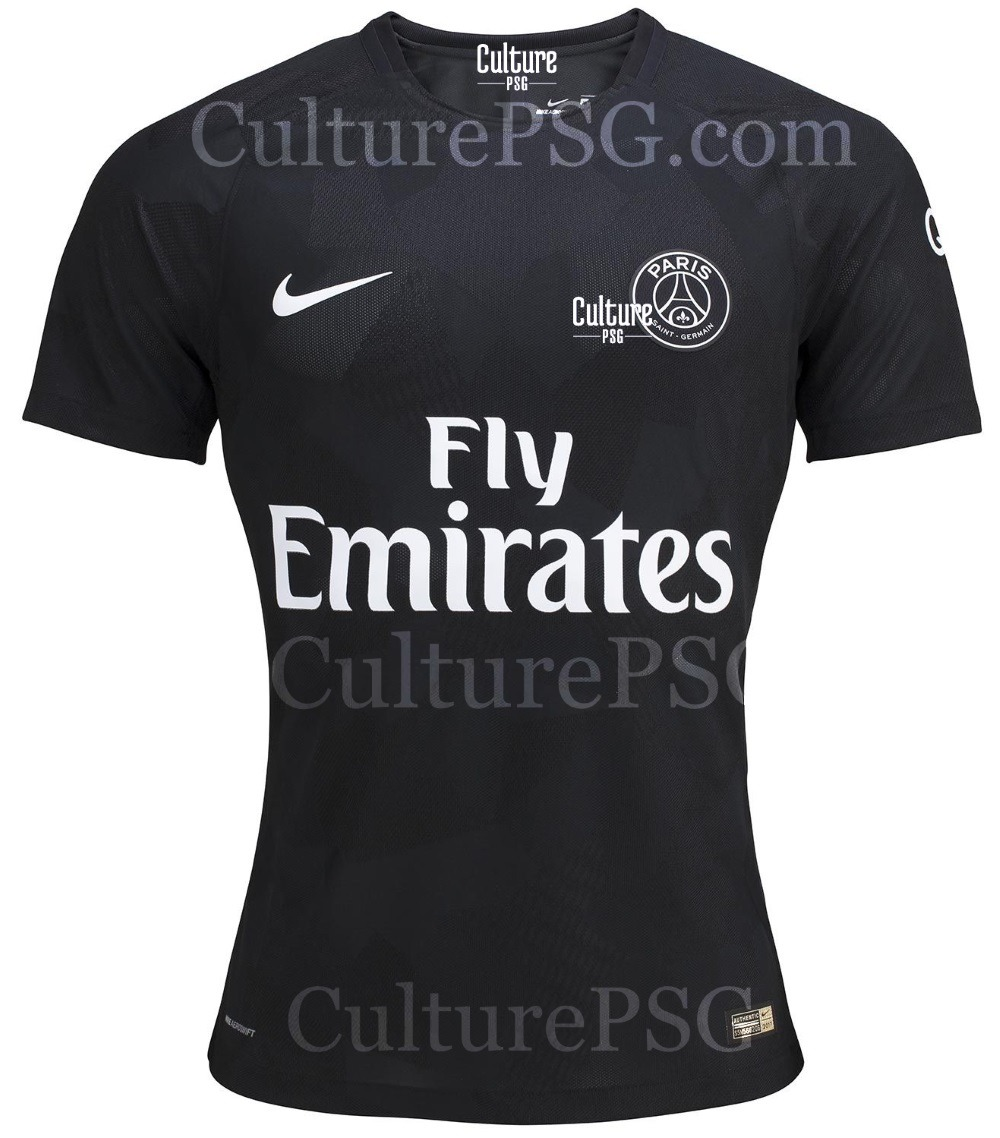 de nouvelles images du maillot third du psg sur 2017 2018 le noir se confirme. Black Bedroom Furniture Sets. Home Design Ideas