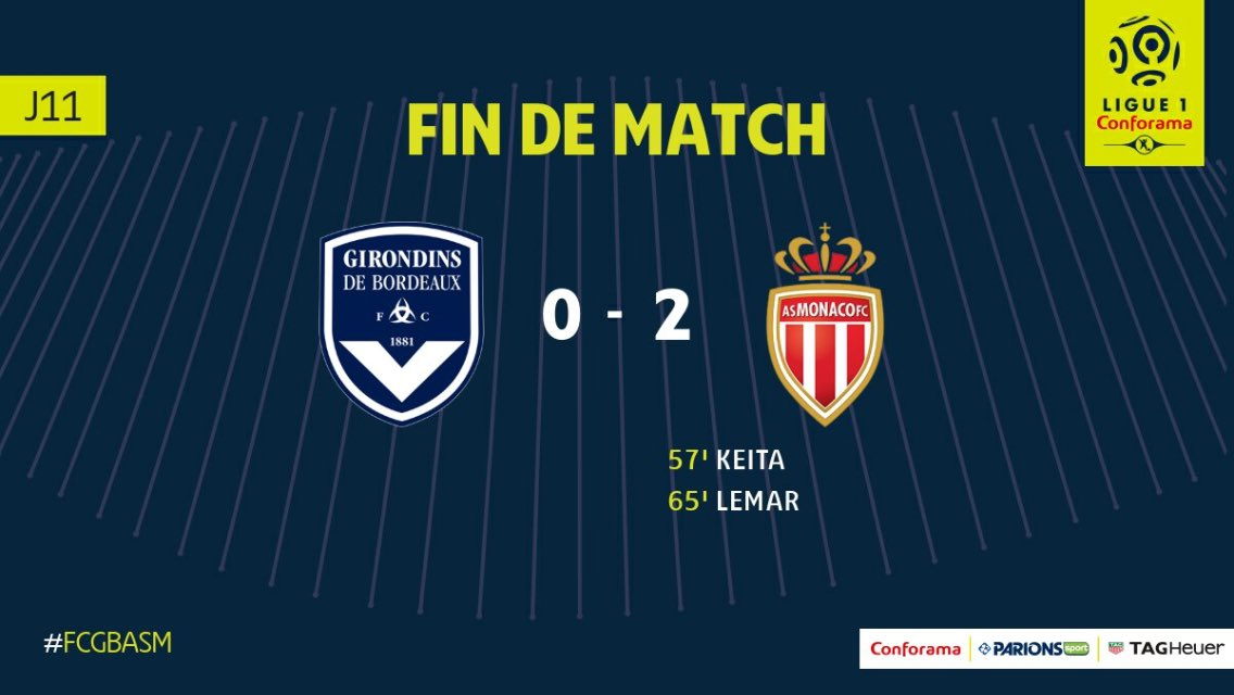 Ligue 1 - L'AS Monaco s'impose contre Bordeaux et reste à 4 points du PSG