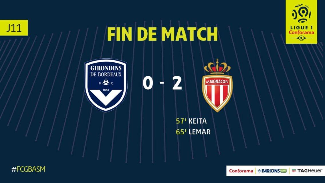 Ligue 1 - L'AS Monaco s'impose contre Bordeaux et reste à 4 points du PSG