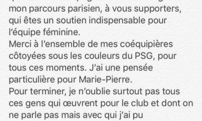 Féminines - Laura Georges annonce son départ du PSG avec un message émouvant