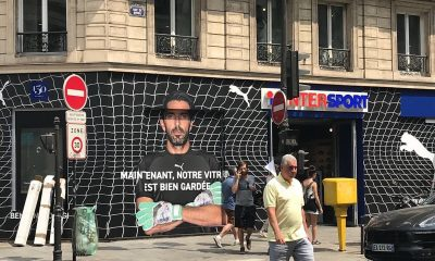 """Intersport a refait sa devanture avec Buffon et l'écrit """"Maintenant, notre vitrine est bien gardée"""""""