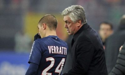 """Ancelotti """"Verratti est l'un des meilleurs milieux au monde...Il a parfois trop de tempérament, mais il progresse"""""""