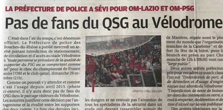 """OM/PSG - La Provence lance la provocation en parlant des supporters du """"QSG"""" interdits de déplacement"""
