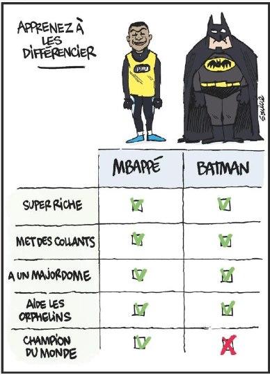 L'Equipe compare Mbappé et Batman dans un dessin, avec un avantage pour l'attaquant