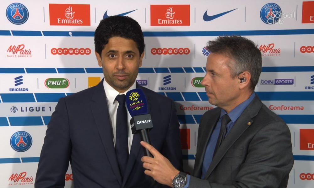 PSG/Monaco - Nasser Al-Khelaïfi félicite les joueurs et remercie les supporters