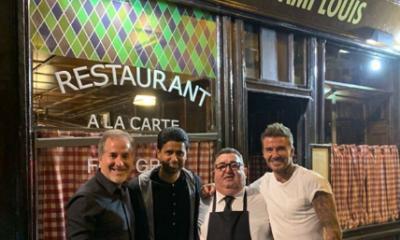"""Beckham fait savoir qu'il a dîné avec son """"ami"""" Nasser Al-Khelaïfi lors de son passage à Paris"""
