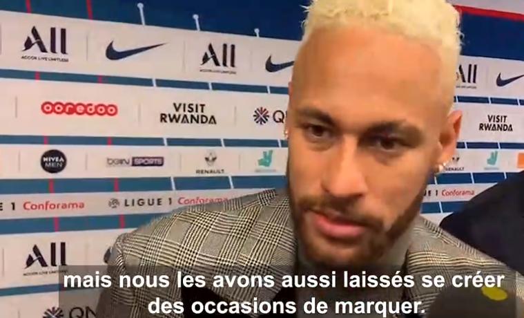 """Neymar explique que le PSG peut jouer dans n'importe quel système et évoque son """"affection immense"""" avec les supporters"""