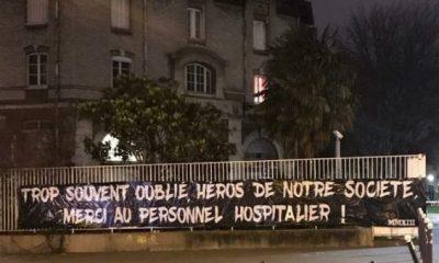 """Parias Cohortis, groupe du Collectif Ultras Paris, envoie un message de soutien au """"personnel hospitalier"""""""