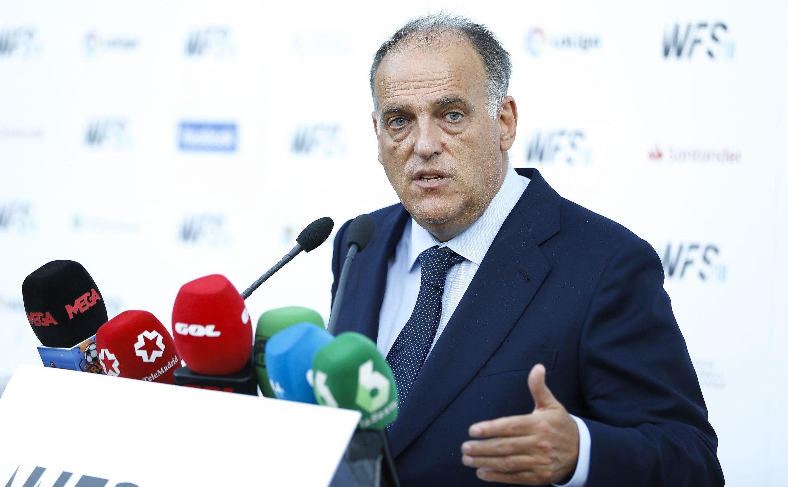 """Tebas se dit prêt à discuter avec le PSG pour """"clarifier la situation"""""""