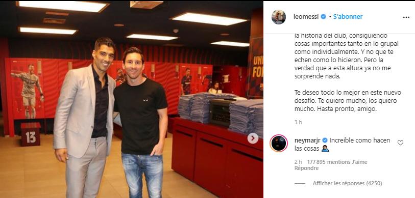 Messi critique le Barça à propos de Suarez, Neymar va publiquement dans son sens