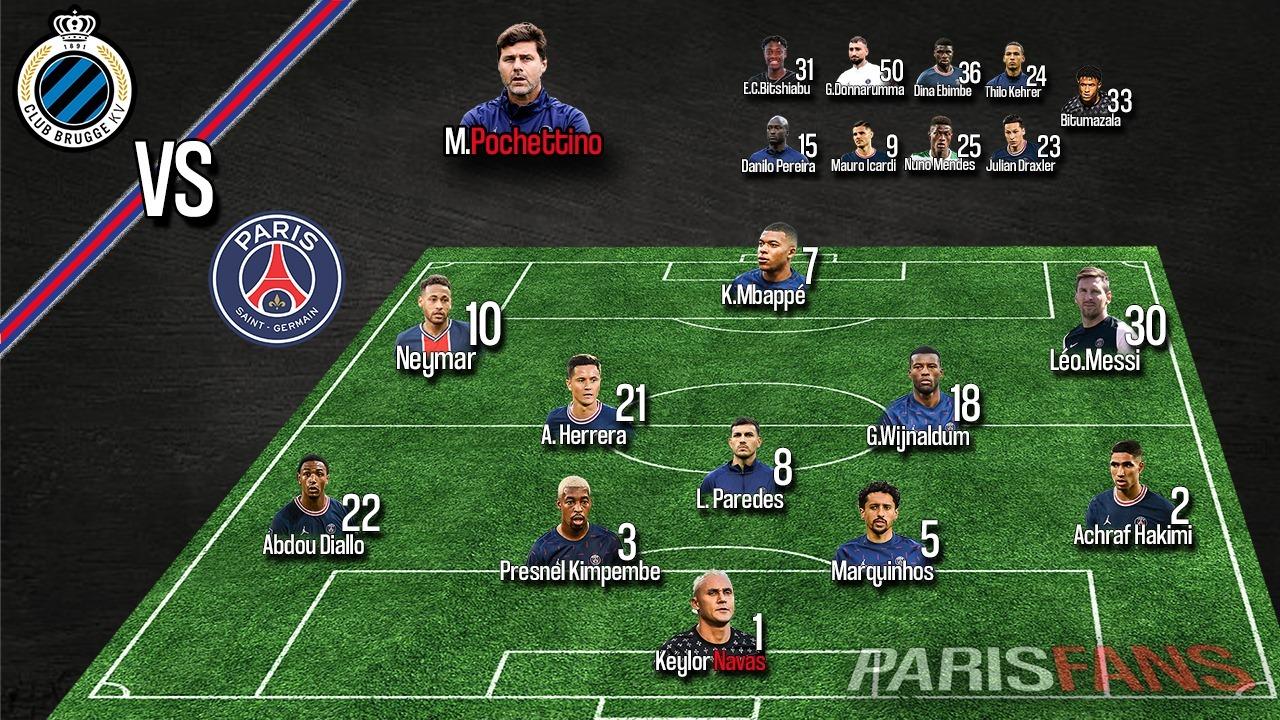 Bruges/PSG - Les équipes officielles : Mbappé, Messi, Neymar et Navas titulaires
